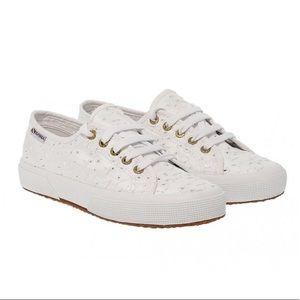 Superga Sangallo Floral Eyelet White Sneakers